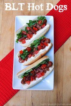 Bobbi's Kozy Kitchen: BLT Hot Dogs #NationalBaconDay