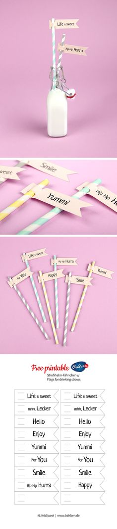 These cute flags added to straws are the new must have for your party! We got a cool free printable for you and your DIY project! #DIY #FreePrintable #Bahlsen #LifeIsSweet