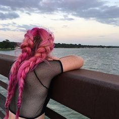 Pink and orange French braids love the mesh back top