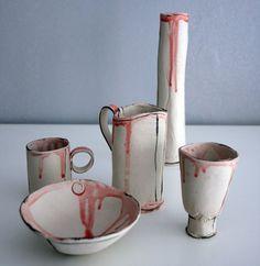 Ceramic still life - containers - red drips - part 2 - ceramic art/sculpture. £150.00, via Etsy.