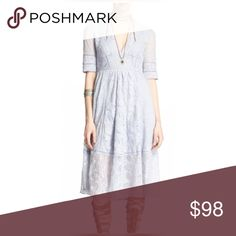 """Free People laurel lace dress size 4 in blue Excellent condition, size 4. All measurements are taken laying flat; chest- 15"""", waist-13"""", length-40"""" Free People Dresses Midi"""