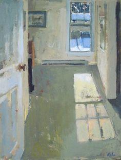 "Carole Rabe  Blue Window  huile sur toile 24 ""x 18"" 2010"