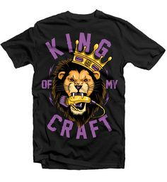 Everyone who sees it, loves it. One of our most popular designs. Act fast! This is a hot item. The humble king will always prevail.  King of My Craft.  Stache Barbers.100% cotton men's black Tee.
