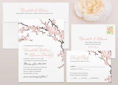 Cherry Blossoms Wedding Invitation - Mallory Hope Design