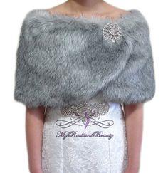 Faux Fur stole Grey Chinchilla Bridal Wrap Fur by MyRadiantBeauty Faux Fur Stole, Faux Fur Wrap, Chinchilla Fur, Evening Dresses, Prom Dresses, Bridal Cape, Luxury Fashion, Fashion Tips, Nice Dresses