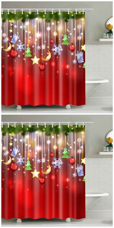 Christmas Waterproof Bathroom Shower Curtain
