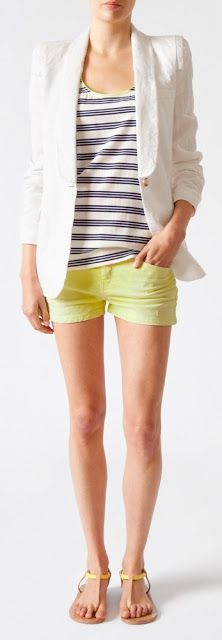 Outfit Posts: outfit post: grey & white striped tank, white cardigan, yellow shorts