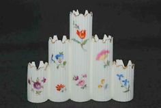 HAND PAINTED BAVARIA 5 SPOUT PORCELAIN VASE