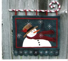 A Winter Night wool pattern - cute snowman with hat and scarf