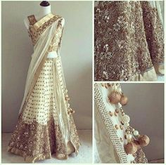 White half saree with gold, silver and pearl work