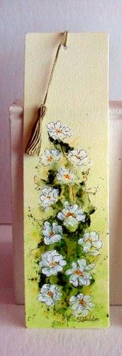 """Bookmark - Original Hand Painted Floral Approx. 2""""X8"""" These hand painted bookmarks are made from best quality watercolor paper and have a HANDMADE TASSEL!"""