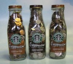 9 ounce bottles will hold 47 dimes 13 nickels 4 pennies 13 ounce bottles will hold 78 quarters 80 dimes 20 nickels 675 pennies Ways To Save Money, Money Tips, Money Saving Tips, How To Make Money, Money Hacks, Money Plan, Savings Challenge, Money Saving Challenge, Starbucks Bottles