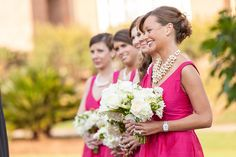 fuchsia bridesmaid dresses + cluster pearl necklace