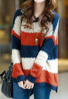 Retro Color Block Stripes Pullover Sweaters