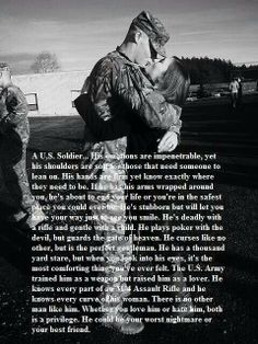 """My Marine yes, it says """"U. Army Soldier"""" in the reading, but everything is true about my Marine. Army Quotes, Military Quotes, Army Sayings, Soldier Quotes, Military Couples, Military Love, Military Deployment, Deployment Quotes, Military Dating"""