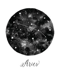 Aries Constellation Illustration Vertical by fercute on Etsy