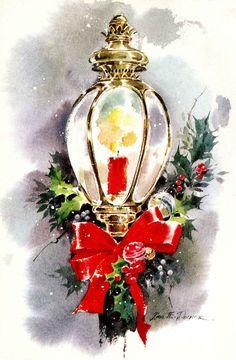#Christmas #vintage #ephemera #greeting #candles {vintage greeting card} Decker