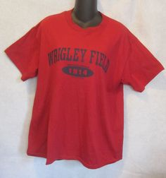 066261e30 Wrigley Field Established 1914 Tee Shirt Red MLB Chicago Cubs Mens Medium   DeltaProWeight  BasicTee
