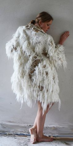 White and golden felt coat fur free kimono by vilte OOAK by vilte, $2499.00...I know it's late in the season to be thinking about winter coats but i think this is feenom!