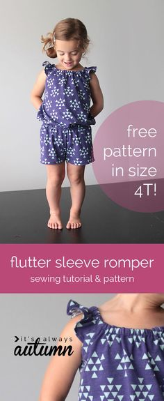 free pattern for girls flutter sleeve romper & sewing tutorial Jumpsuit Gr. 4 Jahre und Tutorial für andere Größen<br> learn to make an adorable little girl's romper with this free sewing tutorial. free printable pattern in size included. Kids Patterns, Sewing Patterns Free, Free Sewing, Clothing Patterns, Free Pattern, Pattern Ideas, Dress Patterns, Knitting Patterns, Kids Clothes Patterns