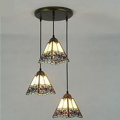 Pendant+Light+,++Tiffany+Painting+Feature+for+Matte+Metal+Living+Room+Indoors+Hallway+3+Bulbs+–+CAD+$+256.57
