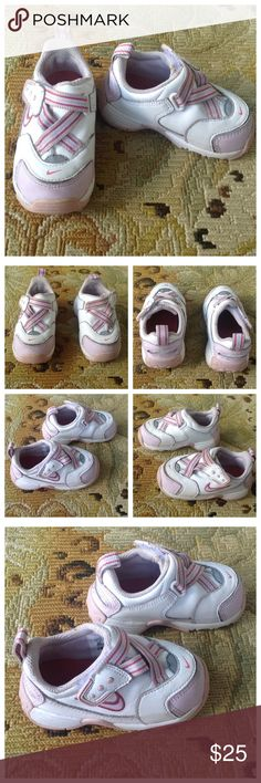 Nike Toddler Purple Pink & White Sneakers 5C Nike. White with purple and pink sneakers. Velcro closure. Toddler size 5C. Excellent condition, a wash would make them look brand new! Nike Shoes Sneakers