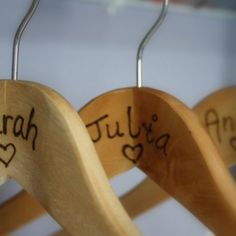 Bridal Party Gifts - Personalized Wooden Hangers - Keepsake - Weddi......