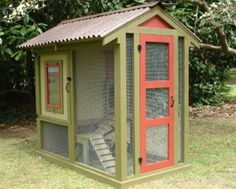 This is supposed to be a chicken coop but could also be an outdoor room for kitties!