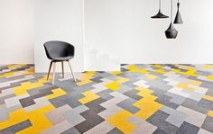 We love the direction flooring is going; amazingly fun and graphic carpet tile.