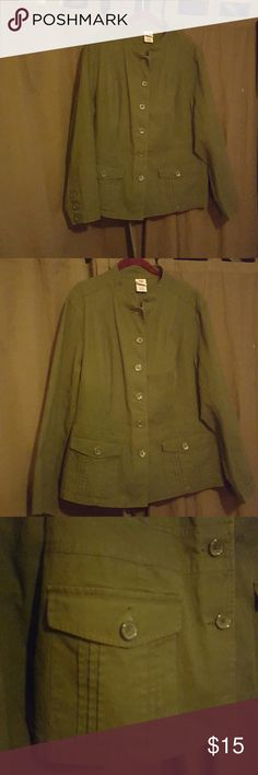 Faded Glory plus sz. 22/24 Olive green jacket This is a great plus size Blazer, sort of a military style, from Faded Glory in a plus size 22/24 or a 2X. It buttons up the front and has spandex in it for stretch. The rest of it is cotton. It's a great olive green color, has 3 buttons at the cuffs, buttons up the front and two pockets that button at the front. The back has a cute little flap...It in excellent condition. 😁 Faded Glory Jackets & Coats Blazers