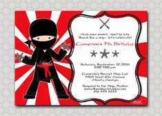 Nice Ninja Birthday Invitations Printable Check more at http://www.nataliesinvitation.com/4811/ninja-birthday-invitations-printable/