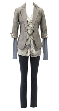 Barrister Blazer, Tranquil Blouse, Ballet Arm Warmers in gray, Black Rain Jegging.