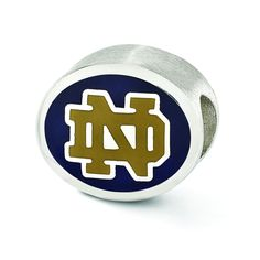 Sterling Silver Enameled University of Notre Dame Collegiate Bead QRS3297E2 Size: 10 x 11 mm QRS3297E2