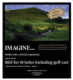 Enjoy our August Special! Golf, News