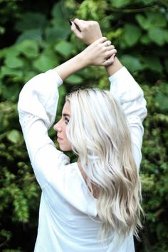 Sav's bright ashy blonde hair by jackie oppenlander