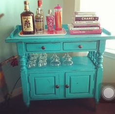 Mini bar made from an old TV stand. Love this idea.