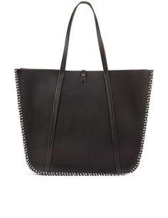 Black Stitch Feuillade Tote Bag