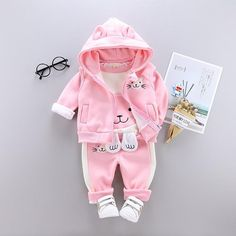 Baby Girl Cat Clothing Set [3M-4T] 39.99 CAD Hooded Vest, Fleece Hoodie, Kids Outfits Girls, Boy Outfits, Kids Girls, Baby Girls, Warm Outfits, Winter Outfits, Boys Suits