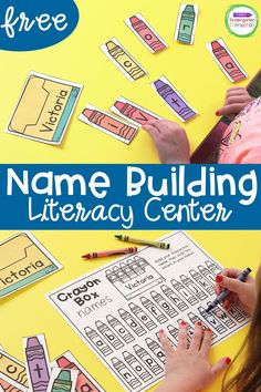 Name Writing Activities, Writing Center Kindergarten, Kindergarten Names, Pre K Activities, Kindergarten First Day, Preschool Learning Activities, Preschool Lessons, Literacy Centers, Literacy Day