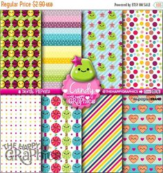 80%OFF - BIG SALE Candy Digital Paper, Commercial Use, Candy Pattern, Printable Paper, Kawaii Paper, Candy Party, Candy Paper, Candies Patte