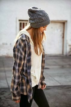 Oversized Plaid with Cream Hoodie and Cozy Beanie...