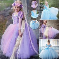 Buy Princess Cinderella Sofia Rapunzel Dresses Full Ball Gown Long Party Dress Kids Cosplay Christmas Halloween Costume Masquerade at Wish - Shopping Made Fun Belle Halloween, Halloween Costumes, Beauty And The Beast Costume, Rapunzel Dress, Kids Gown, Dresses Kids Girl, Cosplay, Ball Gown Dresses, Fancy Dress