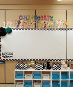 Runde's Room: Classroom Tour you LOVE the hands reaching up to the word 'collaborate'? Classroom Setup, Classroom Design, Future Classroom, School Classroom, Classroom Organization, Classroom Management, Teaching 5th Grade, Primary Teaching, Teaching Kids