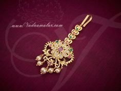 American diamond and ruby stones studded maang tikka jewellery for the forehead. Tika Jewelry, Jewelry Model, Indian Jewelry, Wedding Jewelry, Beaded Jewelry, Gold Jewelry, Gold Earrings Designs, Gold Jewellery Design, Necklace Designs