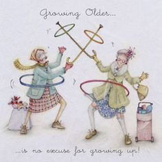 "Cards ""Growing Older""- Berni Parker Designs ღ✟ Happy Birthday Funny, Birthday Wishes, Birthday Cards, Old Lady Humor, Crazy Friends, Art Impressions, Birthday Images, Funny Cards, Old Women"