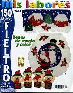 REVISTA MIS LABORES 4 Book Crafts, Crafts To Do, Felt Crafts, Xmas Cross Stitch, Cross Stitch Books, Christmas Books, Christmas Time, Felt Ornaments, Christmas Ornaments
