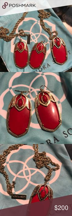 Vintage Red Roxanne necklace & Darby earrings Comes in dust bag  Beautiful red on red  mint condition Kendra Scott Jewelry Necklaces