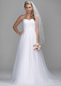 Delicate and ethereal, this tulle gown features a softly shirred sweetheart neckline bodice and beaded straps. Embellishment details accent the natural waist of the full ball gown skirt. Chapel train. Available in White or Ivory. Fully lined. Back zip. Dry clean only.  To preserve your wedding dreams, try our Wedding Gown Preservation Kit!