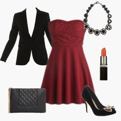 A red dress can be sexy and formal! Perfect for a wedding! Styled by Mary on  WiShi.me (where friends style friends for upcoming events) Follow our styling boards for all the inspiration you need for any event!