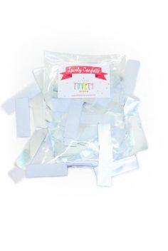 Silver and white XL Confetti  www.glorioussweets.com   #confetti #glorioussweets #eventsupplies